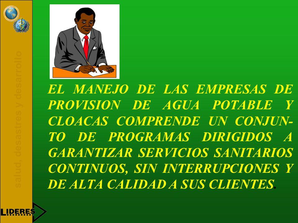 EL MANEJO DE LAS EMPRESAS DE PROVISION DE AGUA POTABLE Y CLOACAS COMPRENDE UN CONJUN-TO DE PROGRAMAS DIRIGIDOS A GARANTIZAR SERVICIOS SANITARIOS CONTINUOS, SIN INTERRUPCIONES Y DE ALTA CALIDAD A SUS CLIENTES.