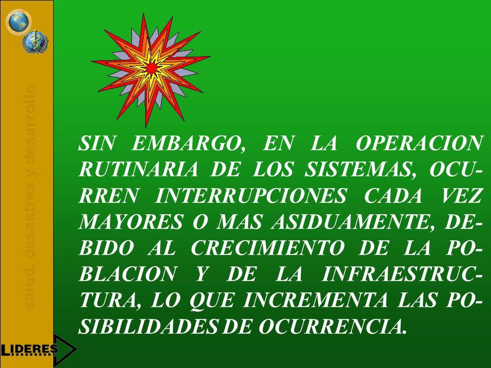 SIN EMBARGO, EN LA OPERACION RUTINARIA DE LOS SISTEMAS, OCU-RREN INTERRUPCIONES CADA VEZ MAYORES O MAS ASIDUAMENTE, DE-BIDO AL CRECIMIENTO DE LA PO-BLACION Y DE LA INFRAESTRUC-TURA, LO QUE INCREMENTA LAS PO-SIBILIDADES DE OCURRENCIA.