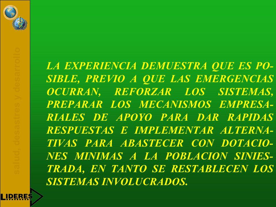 LA EXPERIENCIA DEMUESTRA QUE ES PO-SIBLE, PREVIO A QUE LAS EMERGENCIAS OCURRAN, REFORZAR LOS SISTEMAS, PREPARAR LOS MECANISMOS EMPRESA-RIALES DE APOYO PARA DAR RAPIDAS RESPUESTAS E IMPLEMENTAR ALTERNA-TIVAS PARA ABASTECER CON DOTACIO-NES MINIMAS A LA POBLACION SINIES-TRADA, EN TANTO SE RESTABLECEN LOS SISTEMAS INVOLUCRADOS.