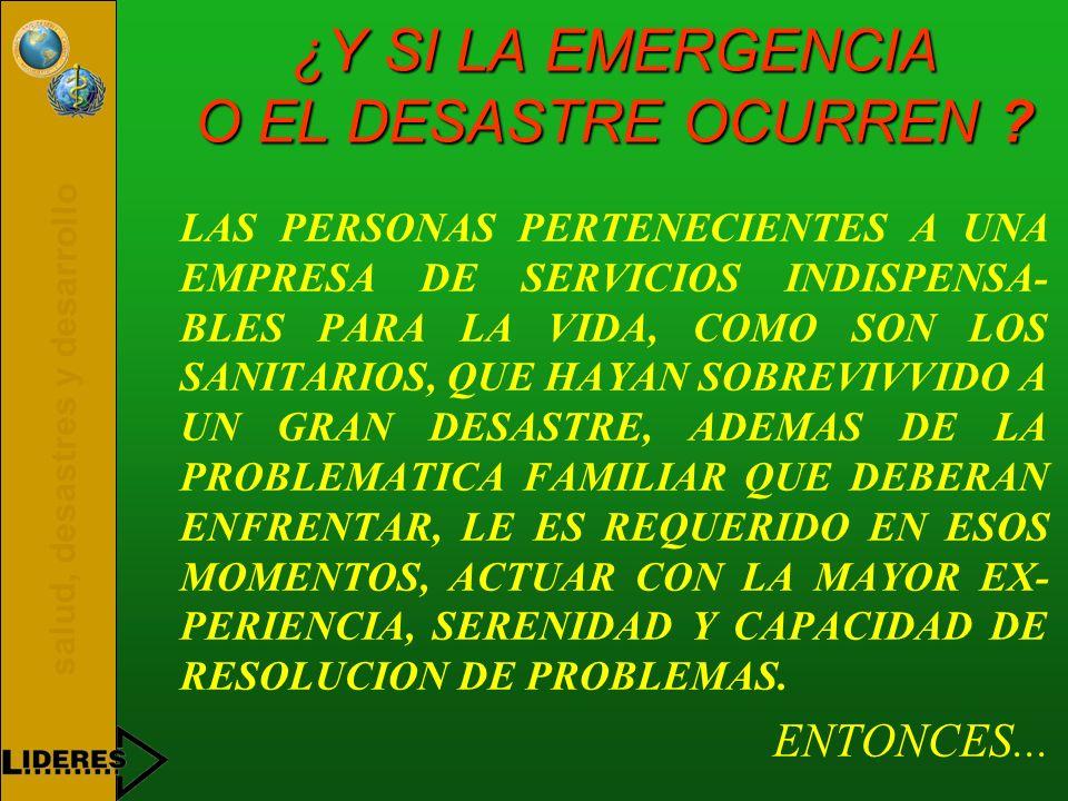¿Y SI LA EMERGENCIA O EL DESASTRE OCURREN
