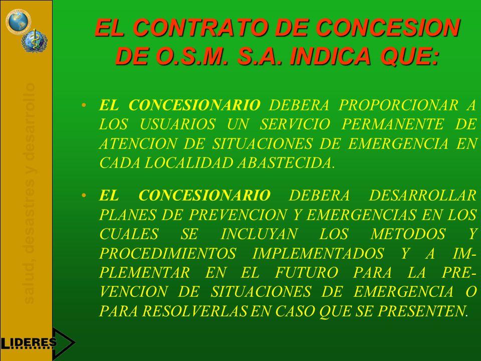EL CONTRATO DE CONCESION DE O.S.M. S.A. INDICA QUE: