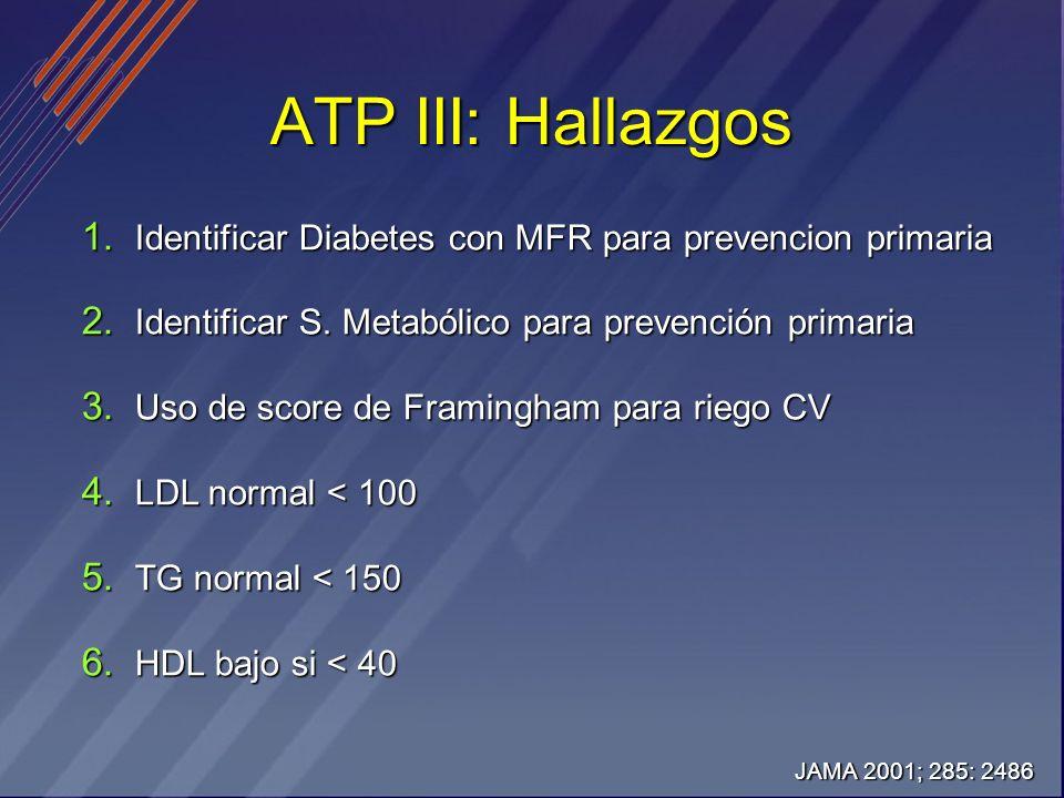 ATP III: Hallazgos Identificar Diabetes con MFR para prevencion primaria. Identificar S. Metabólico para prevención primaria.