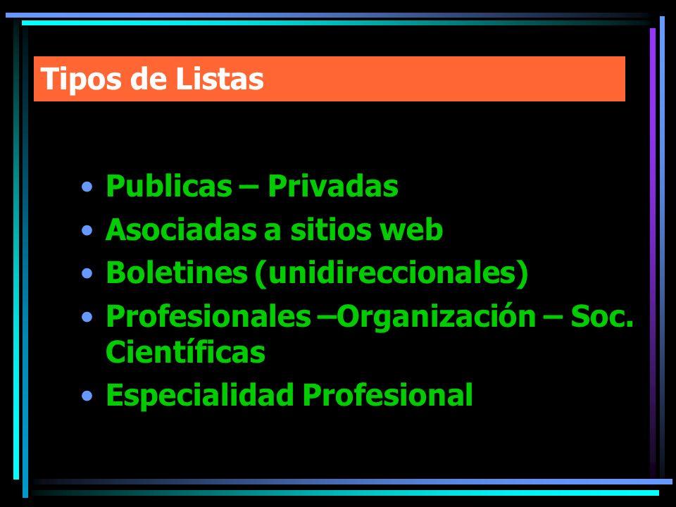 Tipos de Listas Publicas – Privadas. Asociadas a sitios web. Boletines (unidireccionales) Profesionales –Organización – Soc. Científicas.