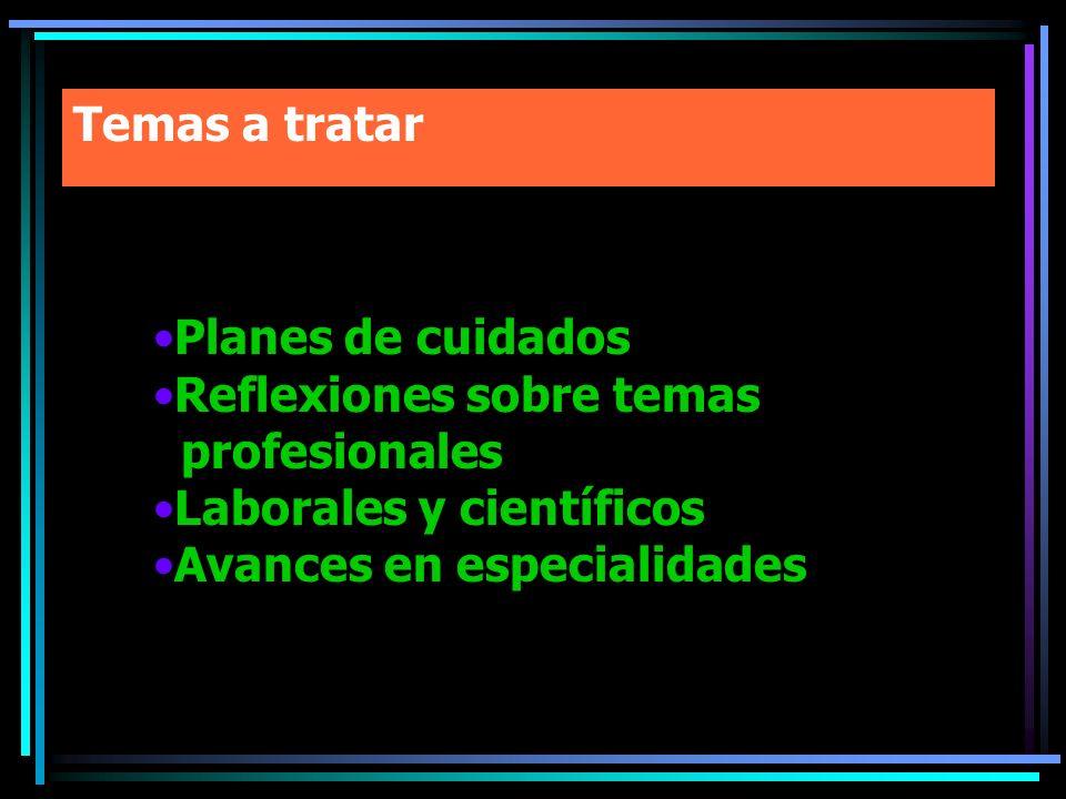 Temas a tratar Planes de cuidados. Reflexiones sobre temas. profesionales. Laborales y científicos.