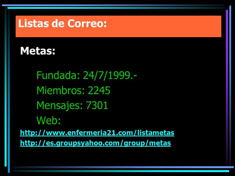 Listas de Correo: Metas: Fundada: 24/7/1999.- Miembros: 2245