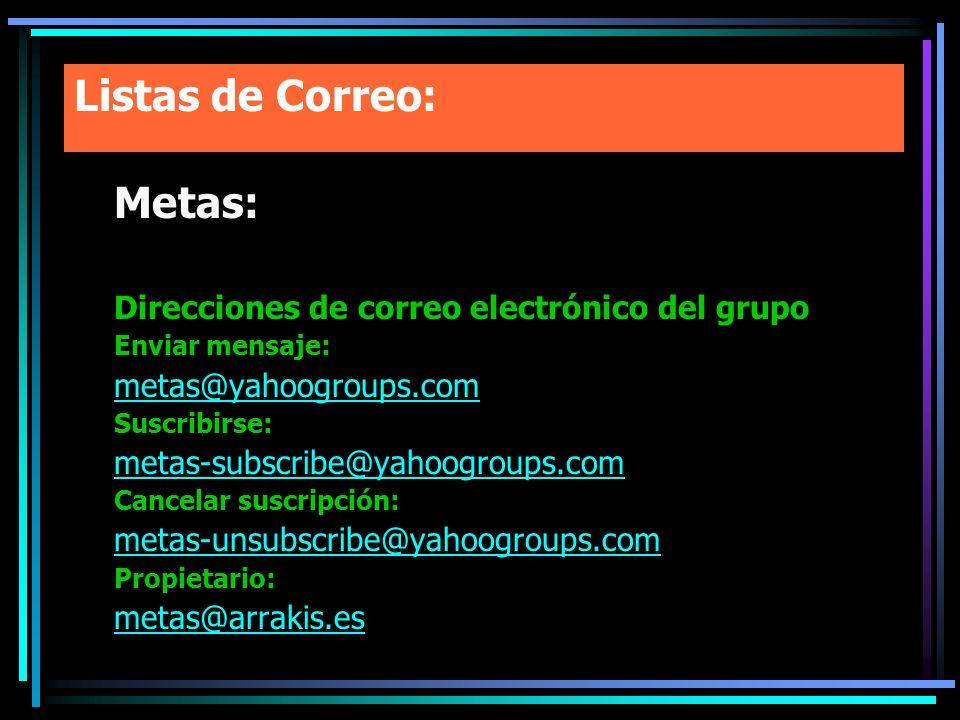 Listas de Correo: Metas: Direcciones de correo electrónico del grupo