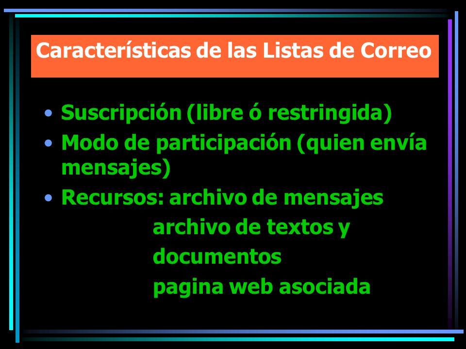 Características de las Listas de Correo