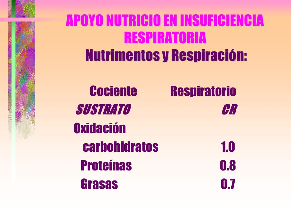 APOYO NUTRICIO EN INSUFICIENCIA RESPIRATORIA Nutrimentos y Respiración: