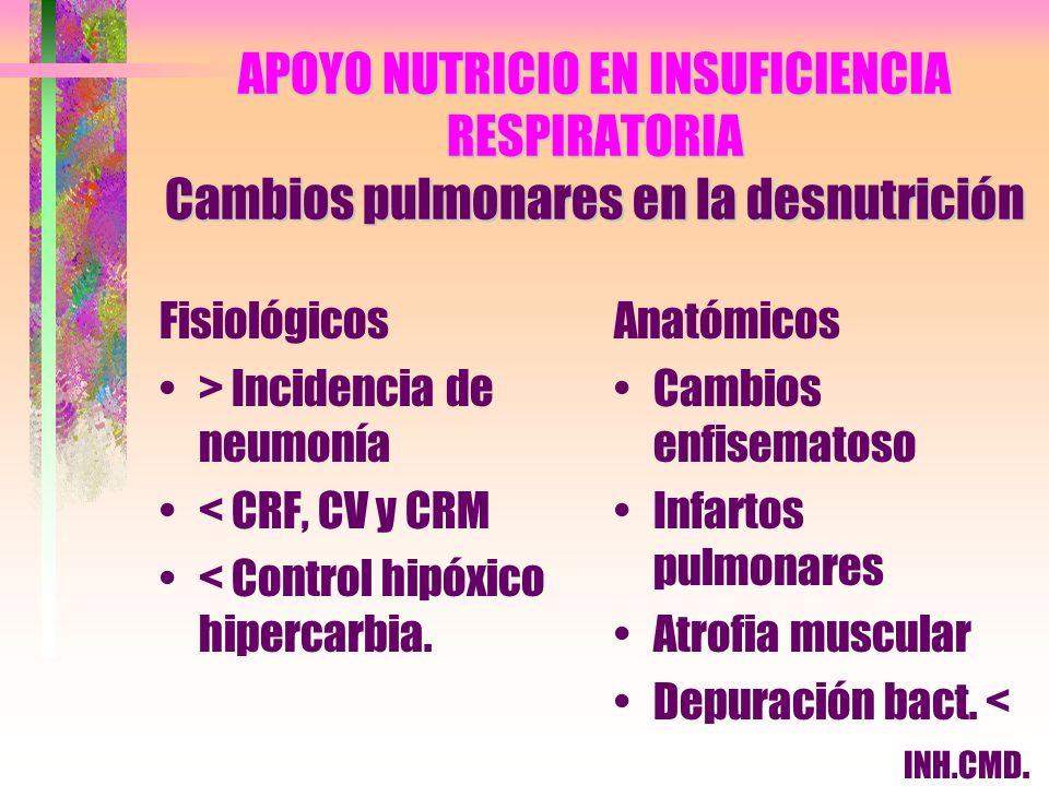 APOYO NUTRICIO EN INSUFICIENCIA RESPIRATORIA Cambios pulmonares en la desnutrición