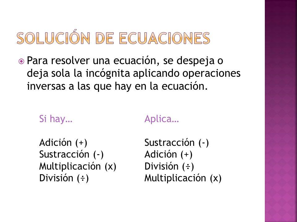 SOLUCIÓN DE ECUACIONES