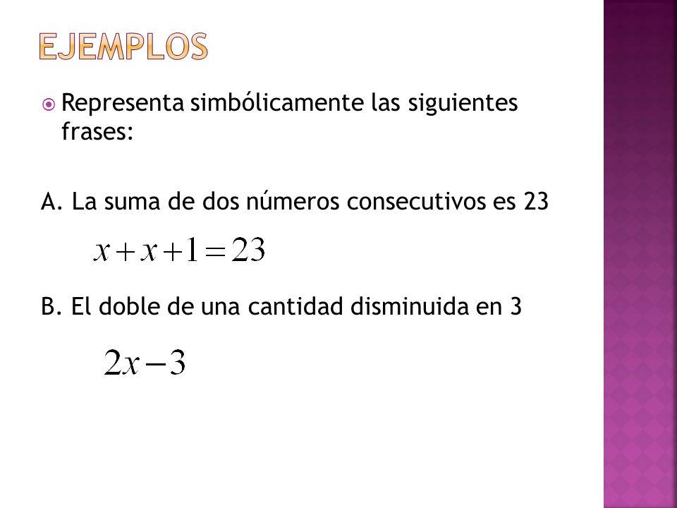 EJEMPLOS Representa simbólicamente las siguientes frases: