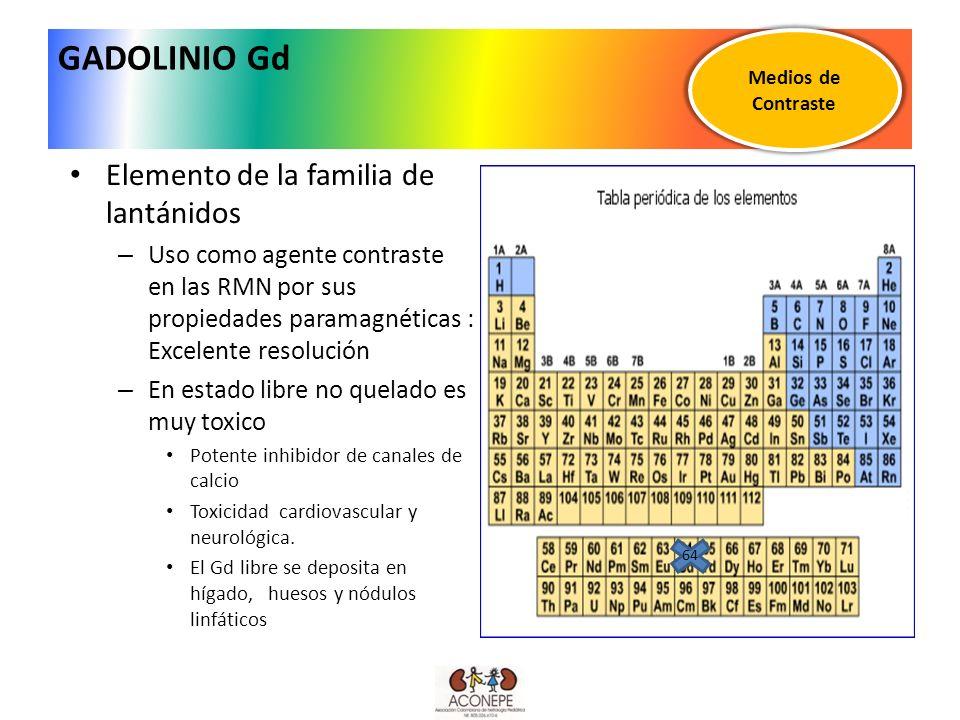 GADOLINIO Gd Elemento de la familia de lantánidos