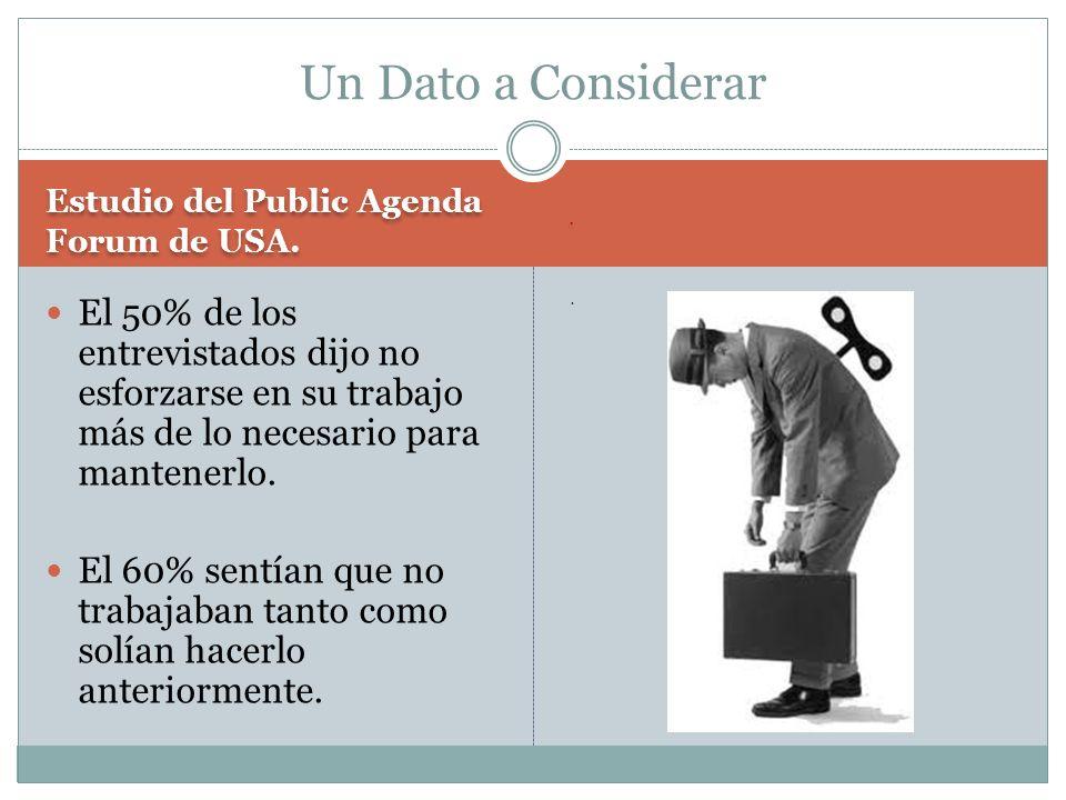 Un Dato a Considerar Estudio del Public Agenda Forum de USA. .
