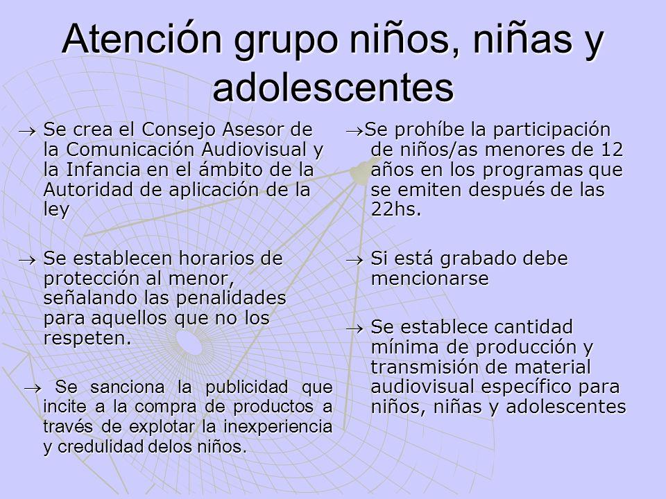 Atención grupo niños, niñas y adolescentes