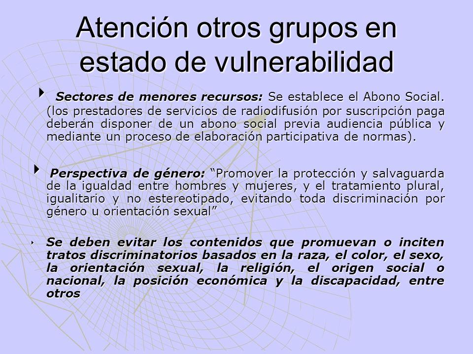 Atención otros grupos en estado de vulnerabilidad