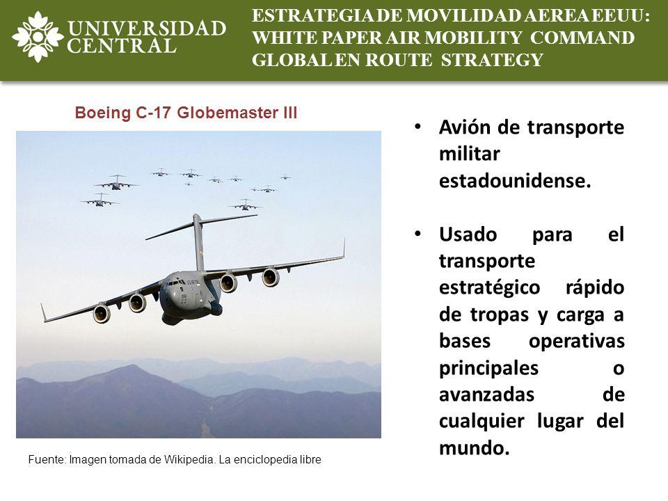 Avión de transporte militar estadounidense.
