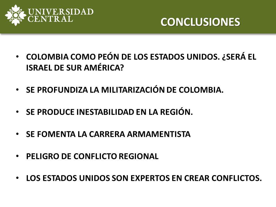 CONCLUSIONES COLOMBIA COMO PEÓN DE LOS ESTADOS UNIDOS. ¿SERÁ EL ISRAEL DE SUR AMÉRICA SE PROFUNDIZA LA MILITARIZACIÓN DE COLOMBIA.