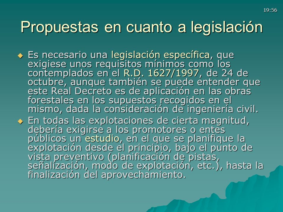 Propuestas en cuanto a legislación