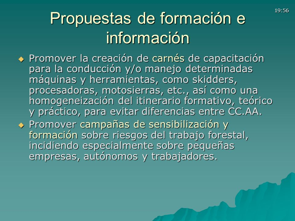 Propuestas de formación e información