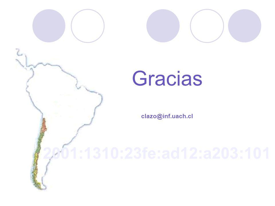 Gracias clazo@inf.uach.cl 2001:1310:23fe:ad12:a203:101