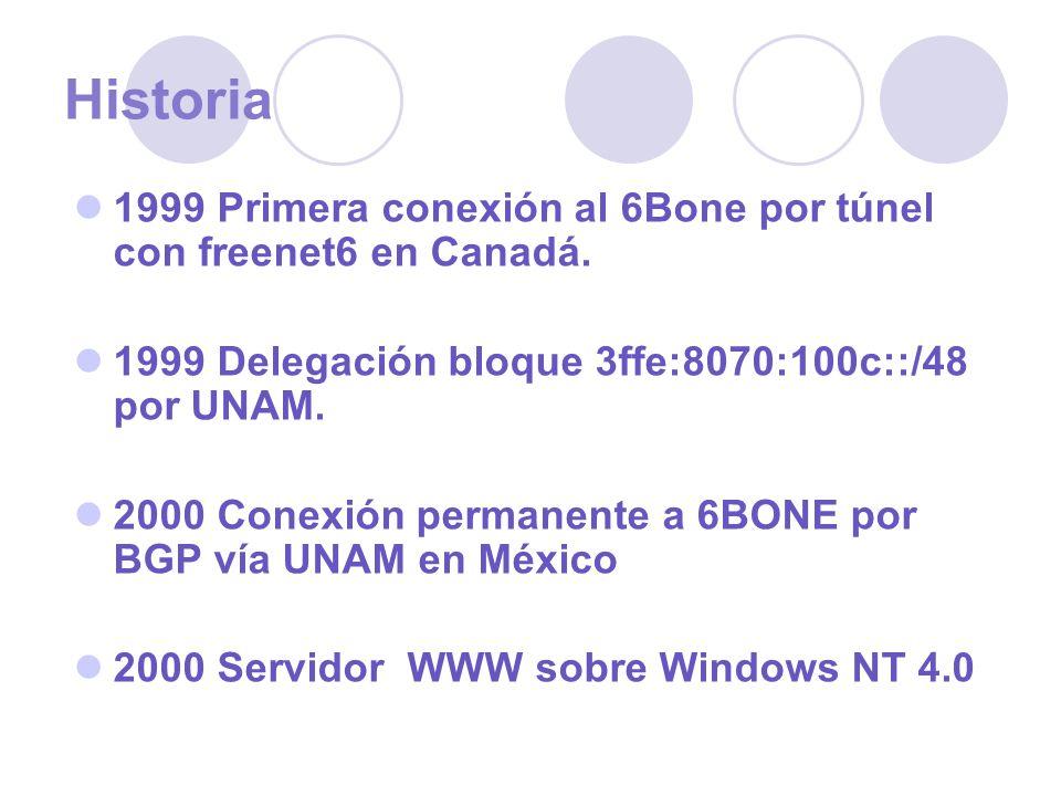 Historia 1999 Primera conexión al 6Bone por túnel con freenet6 en Canadá. 1999 Delegación bloque 3ffe:8070:100c::/48 por UNAM.