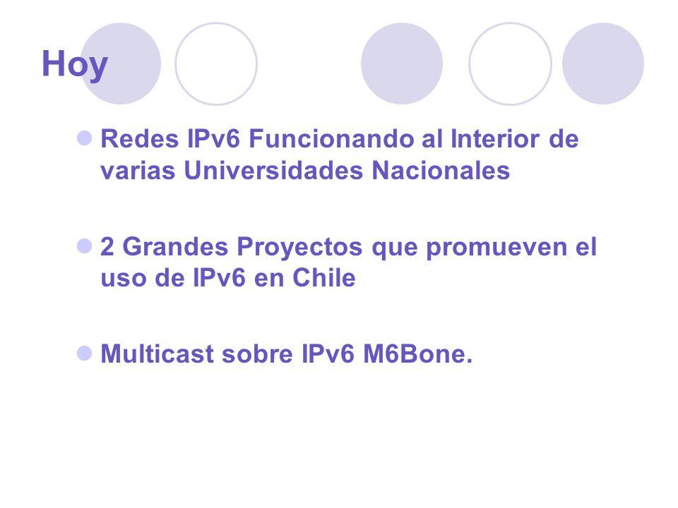 Hoy Redes IPv6 Funcionando al Interior de varias Universidades Nacionales. 2 Grandes Proyectos que promueven el uso de IPv6 en Chile.