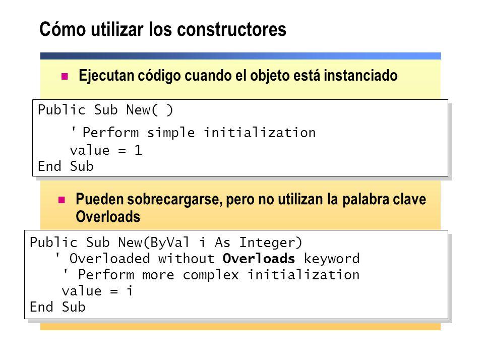 Cómo utilizar los constructores