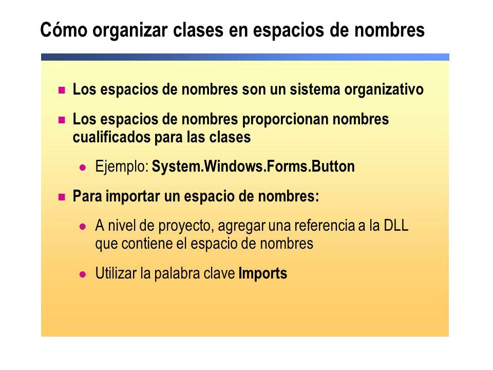 Cómo organizar clases en espacios de nombres
