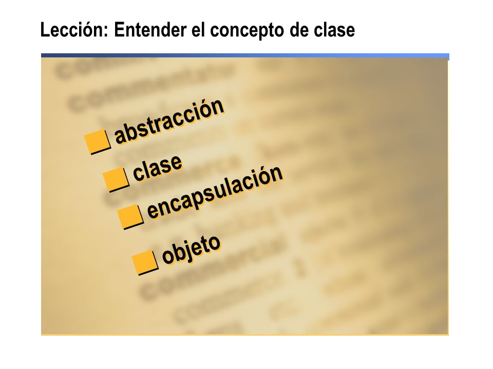 Lección: Entender el concepto de clase