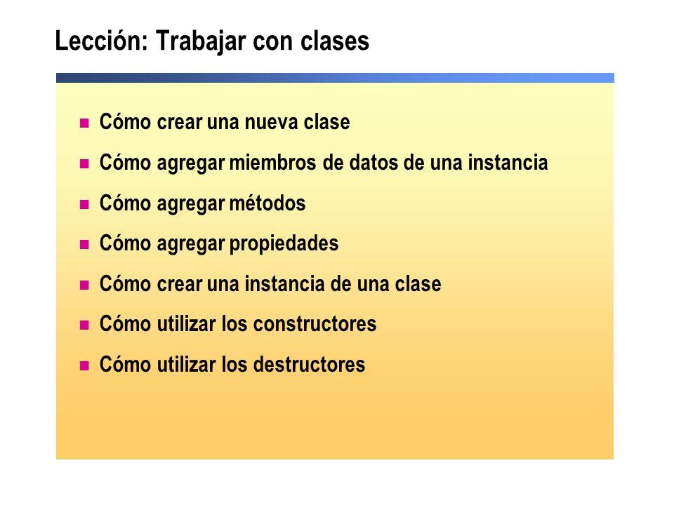 Lección: Trabajar con clases