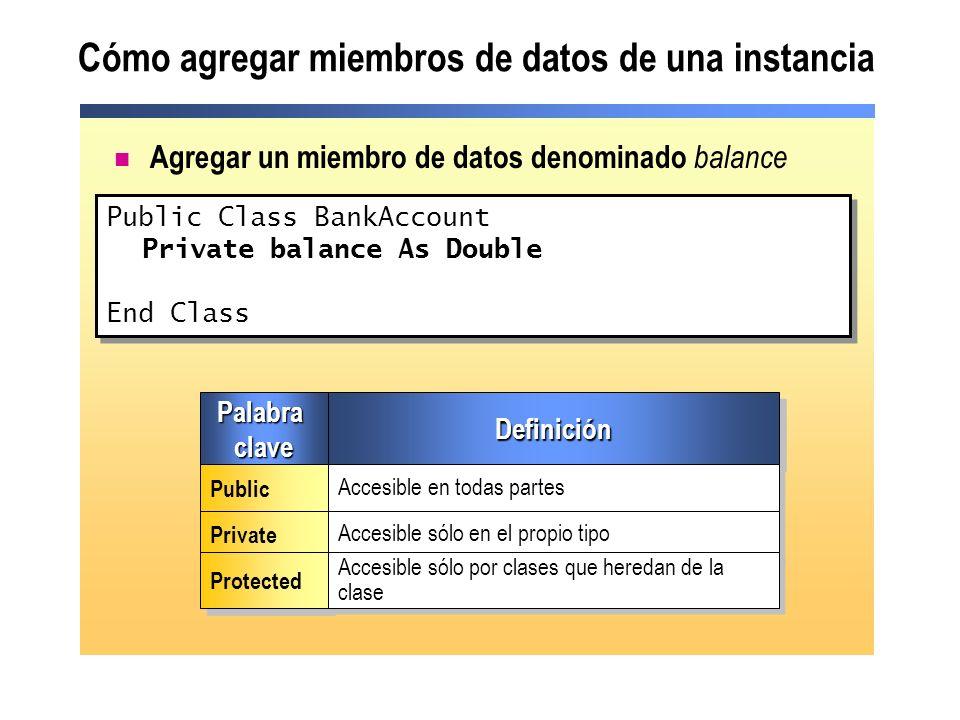 Cómo agregar miembros de datos de una instancia