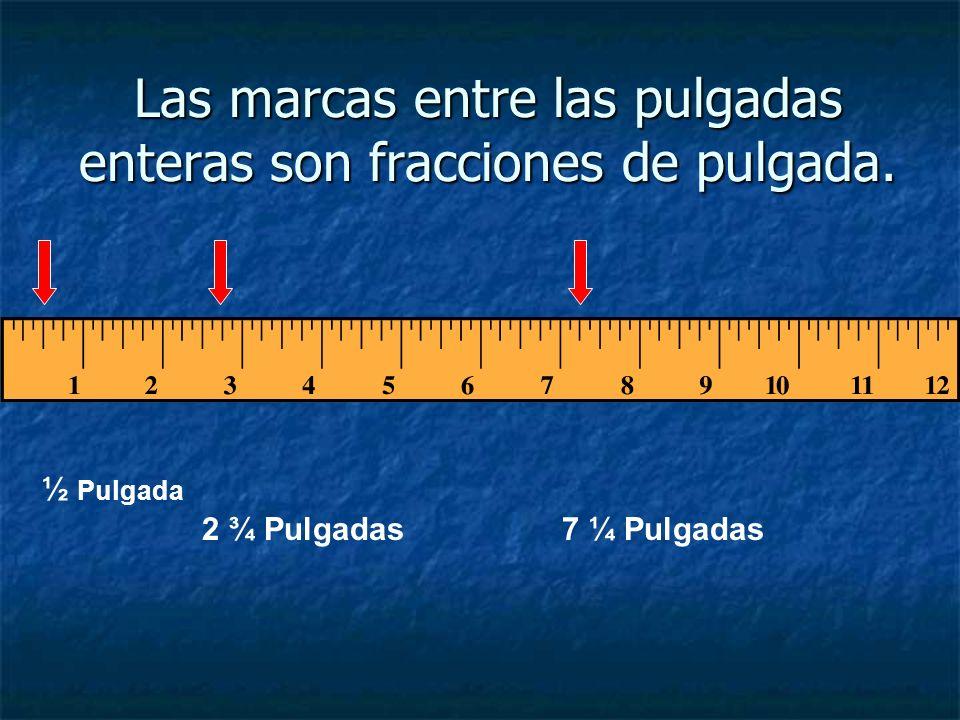 Las marcas entre las pulgadas enteras son fracciones de pulgada.