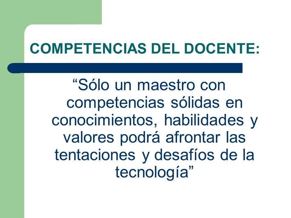 COMPETENCIAS DEL DOCENTE: