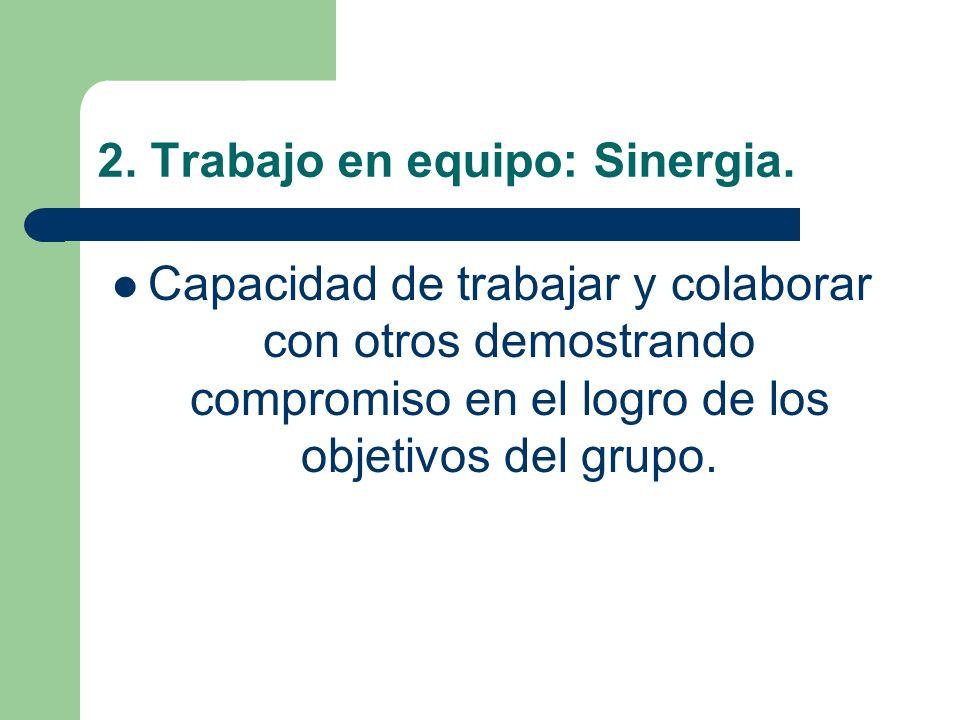 2. Trabajo en equipo: Sinergia.