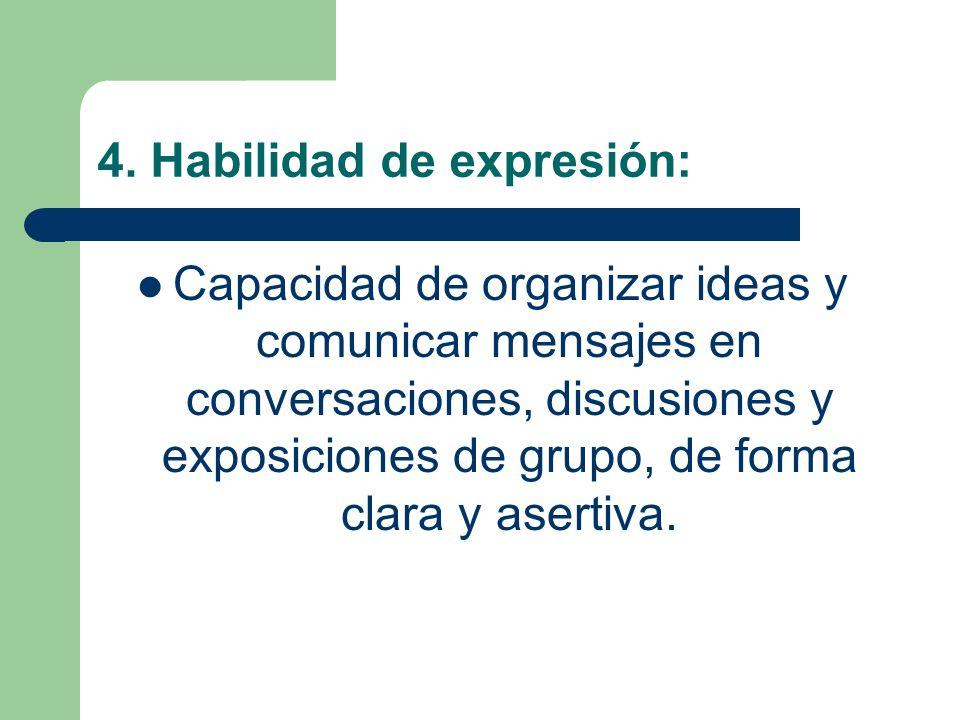 4. Habilidad de expresión: