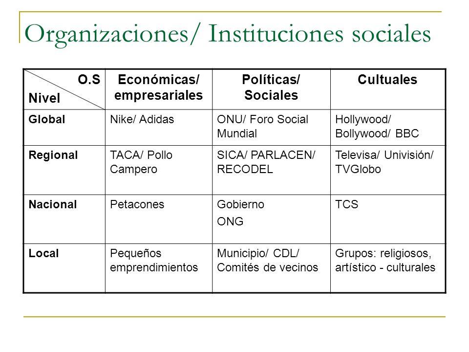 Organizaciones/ Instituciones sociales