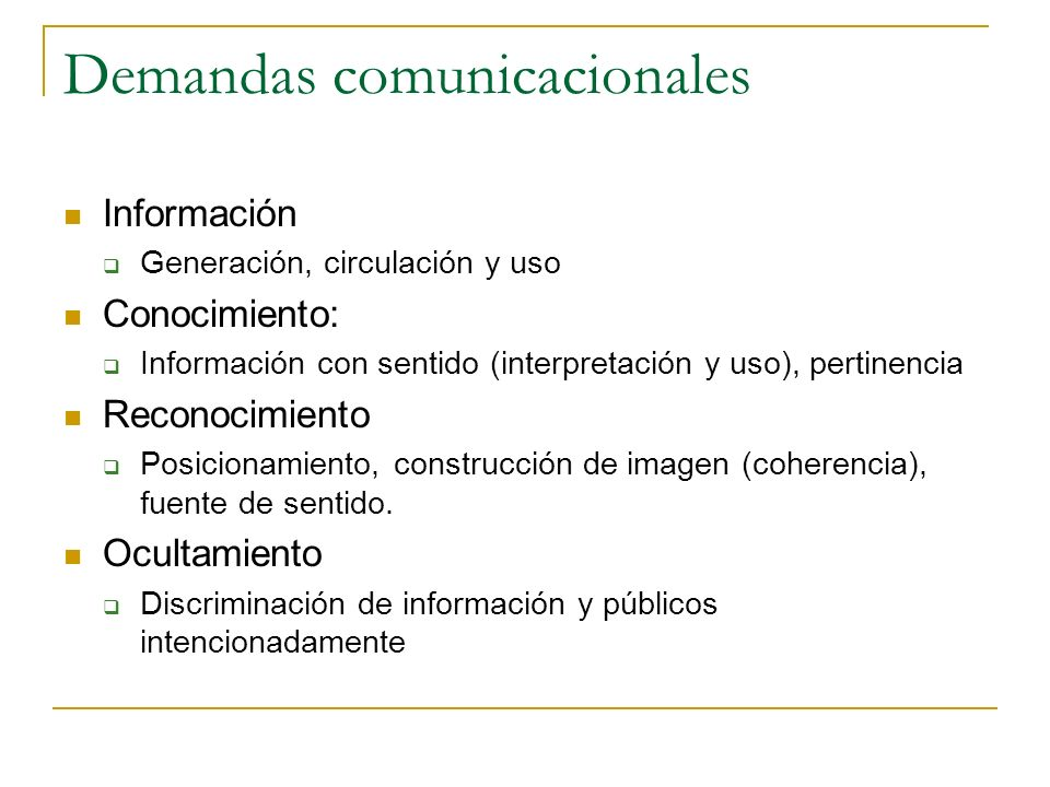 Demandas comunicacionales