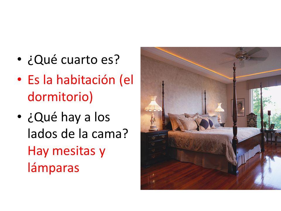 ¿Qué cuarto es. Es la habitación (el dormitorio) ¿Qué hay a los lados de la cama.