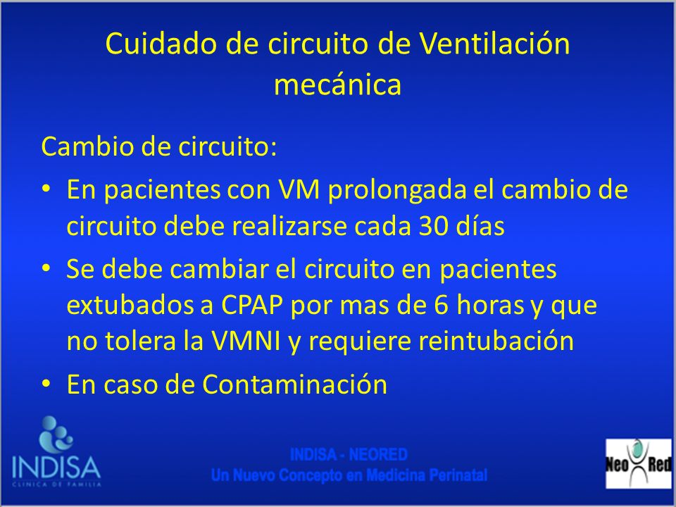 Cuidado de circuito de Ventilación mecánica
