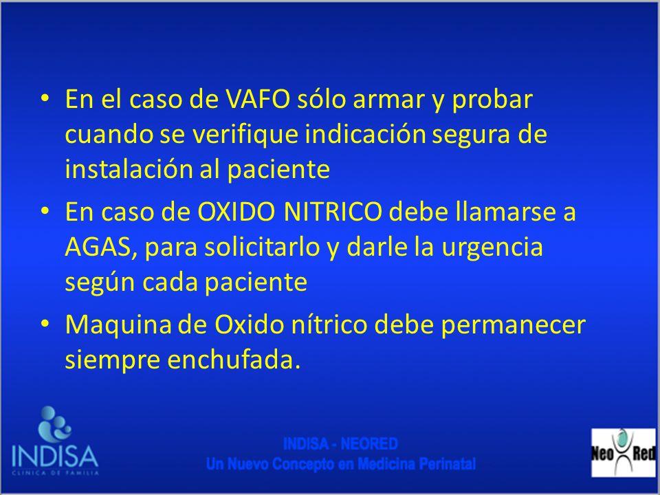 En el caso de VAFO sólo armar y probar cuando se verifique indicación segura de instalación al paciente
