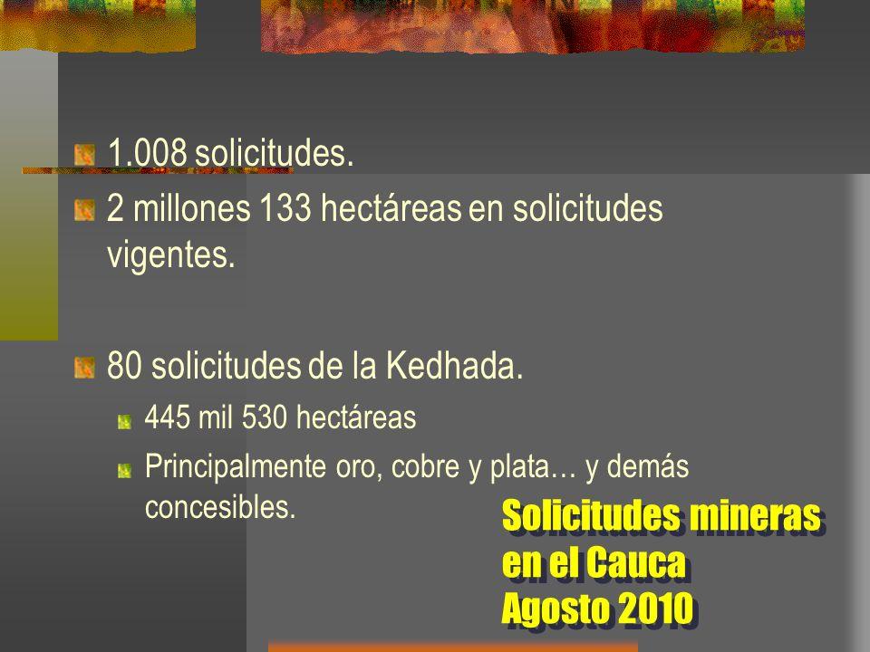 2 millones 133 hectáreas en solicitudes vigentes.