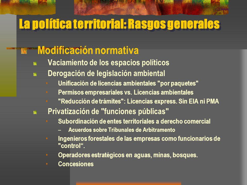 La política territorial: Rasgos generales