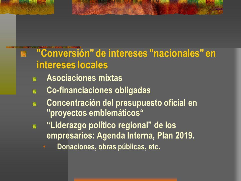Conversión de intereses nacionales en intereses locales