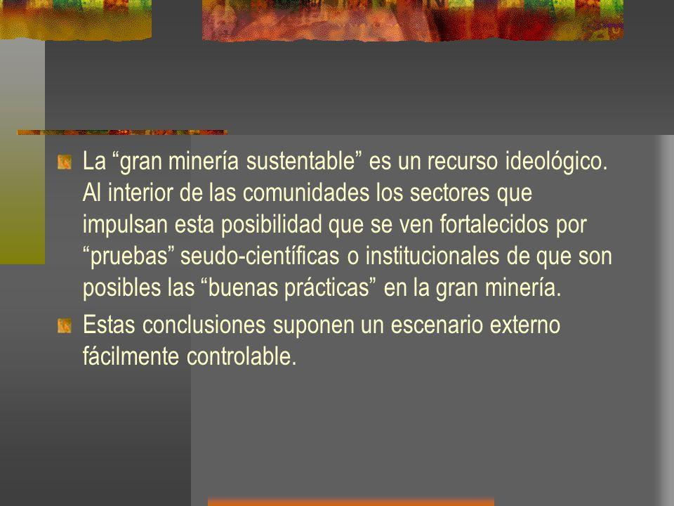 La gran minería sustentable es un recurso ideológico