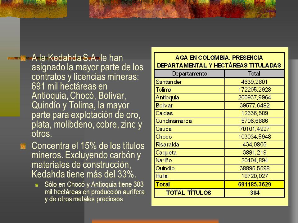 A la Kedahda S.A. le han asignado la mayor parte de los contratos y licencias mineras: 691 mil hectáreas en Antioquia, Chocó, Bolívar, Quindío y Tolima, la mayor parte para explotación de oro, plata, molibdeno, cobre, zinc y otros.