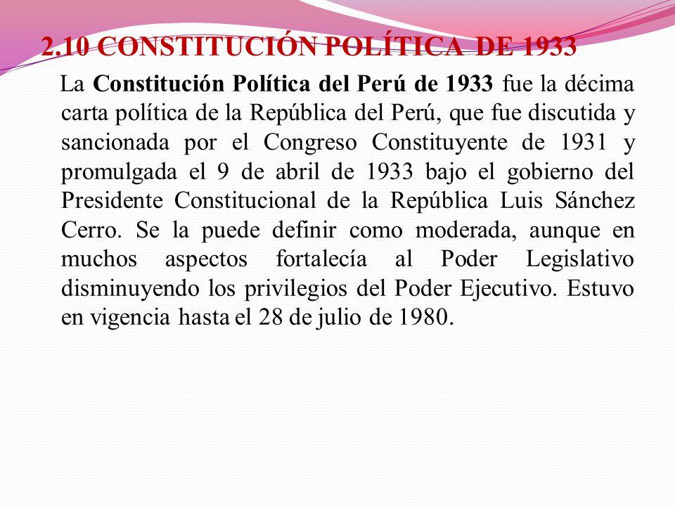 2.10 CONSTITUCIÓN POLÍTICA DE 1933