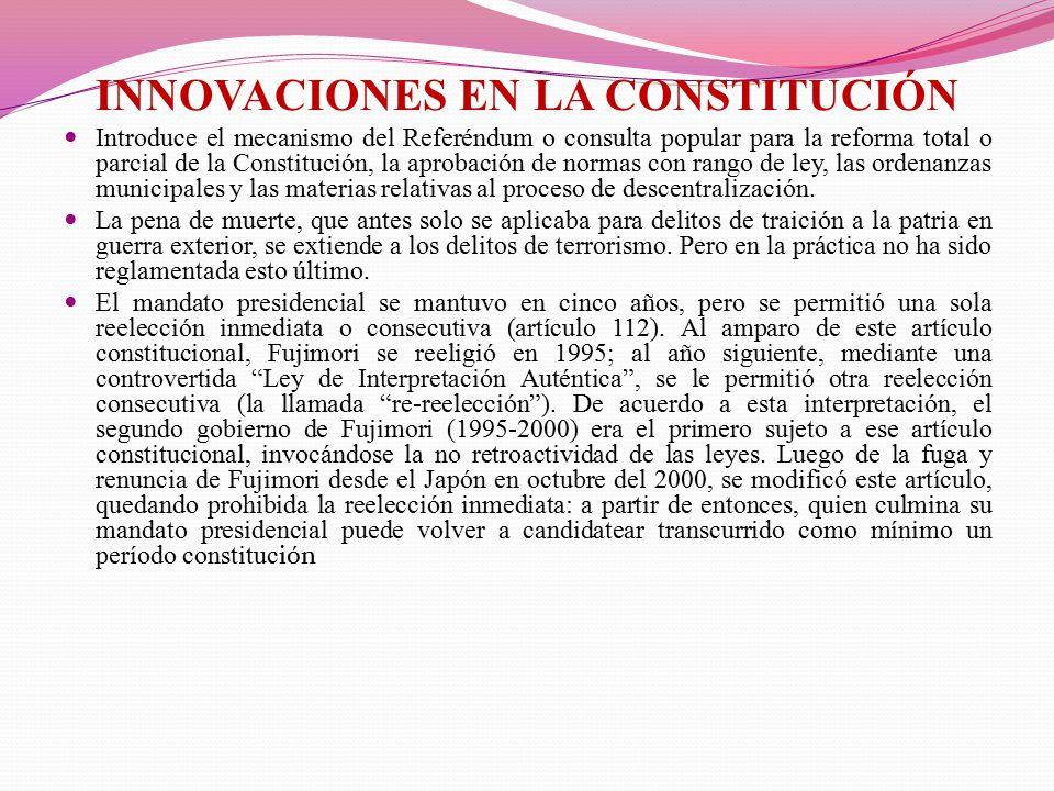 INNOVACIONES EN LA CONSTITUCIÓN