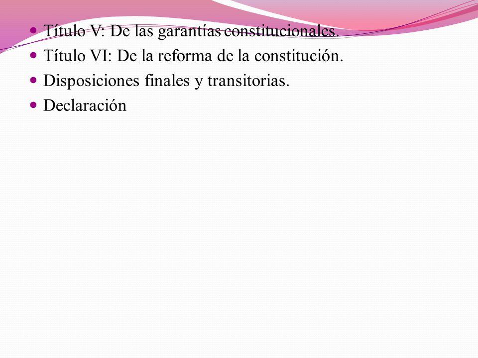 Título V: De las garantías constitucionales.