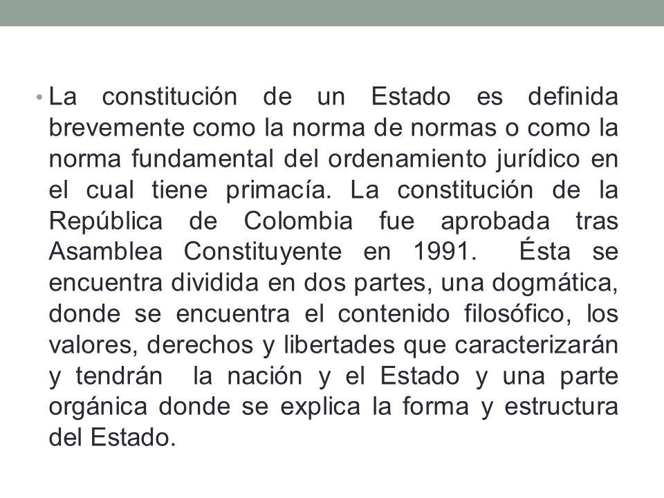 La constitución de un Estado es definida brevemente como la norma de normas o como la norma fundamental del ordenamiento jurídico en el cual tiene primacía.