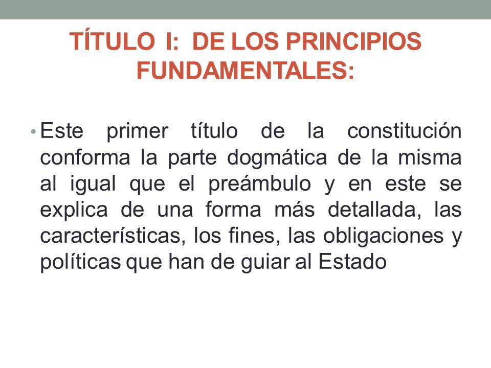 TÍTULO I: DE LOS PRINCIPIOS FUNDAMENTALES: